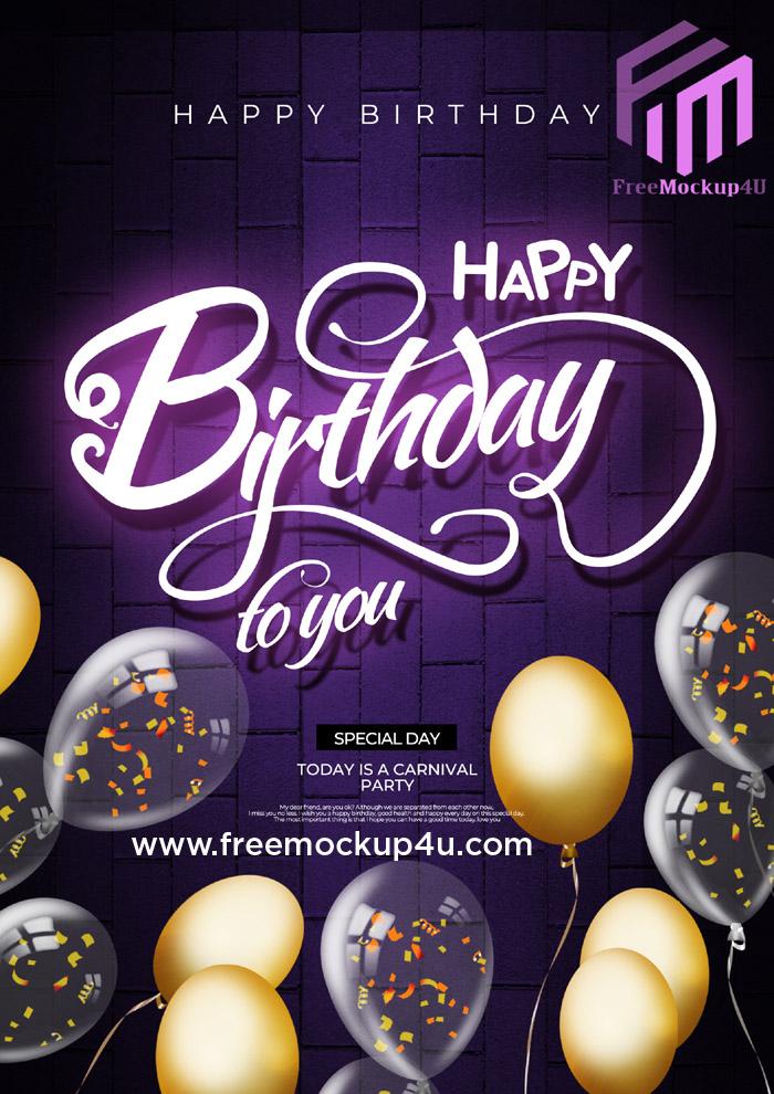 Dark Neon Effect Happy Birthday Card