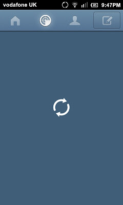 A screen capture of the loading swirl for Tumblr 3.0 for Android