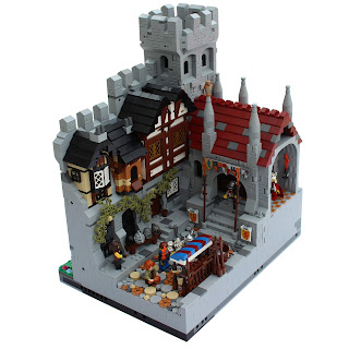Woodstock Castle Lego MOC Medieval Town Square with Timbered Buildings