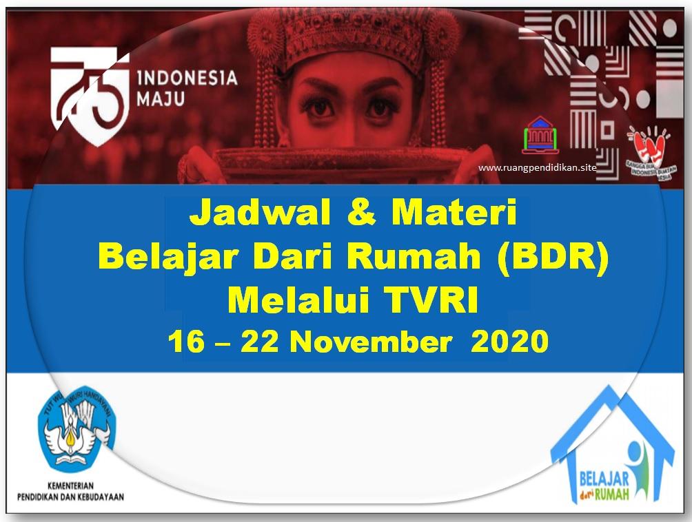 Jadwal BDR Di TVRI Tanggal 16, 17, 18, 19, 20 November