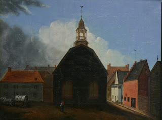Painting of a church with Dutch colonial buildings in the background.