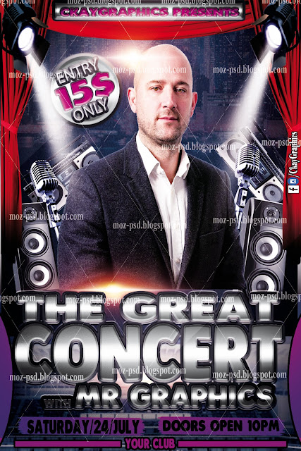 The Great Concert PSD Flyer For Free         |          MOZ PSD FILES