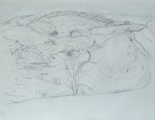 View from Gibbet Hill 2. Pencil on paper