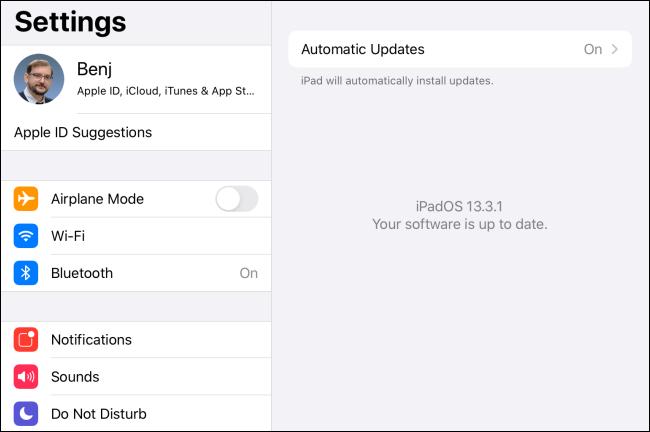 البرنامج رسالة محدثة في iPadOS.