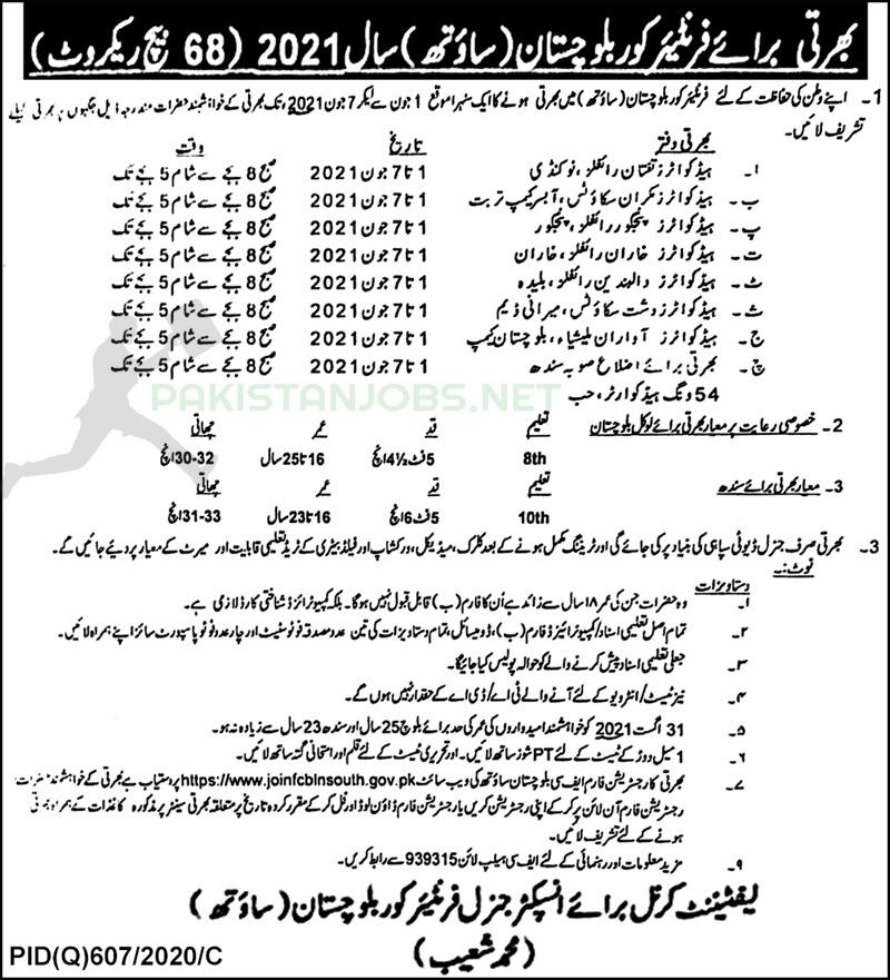 Fc Frontier Corps Jobs Latest 2021