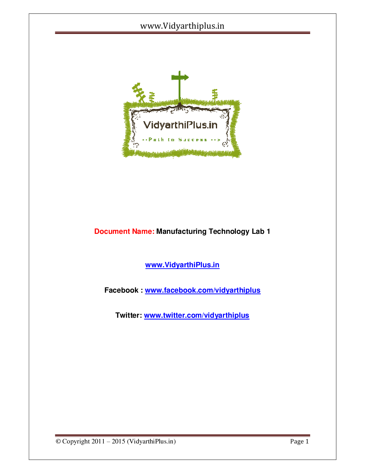 Manufacturing Technology 1 - Lab Manual