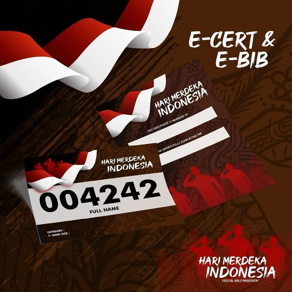 e-Bib 💳  Hari Merdeka Indonesia Virtual Half Marathon • 2021