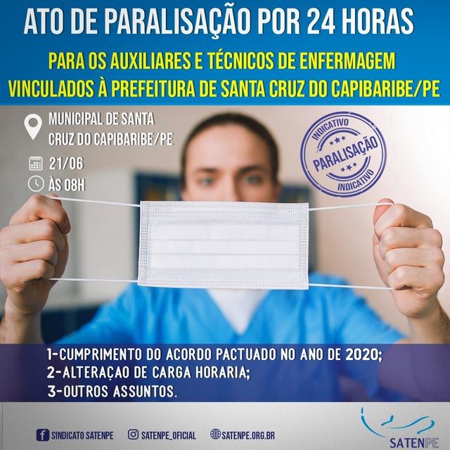Auxiliares e Técnicos de Enfermagem de Santa Cruz do Capibaribe farão paralisação na segunda (21)