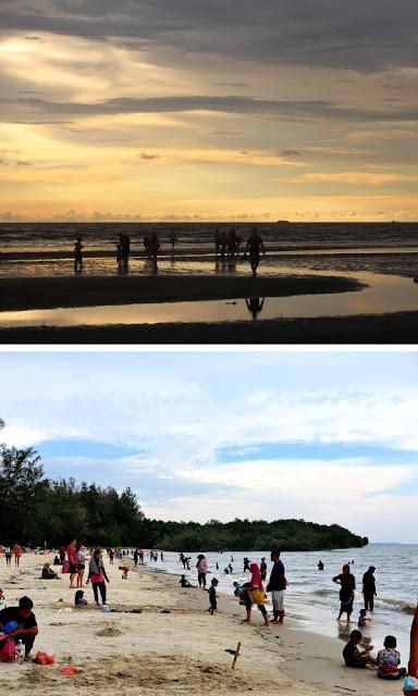 Pantai Morib matahari terbenam dan dataran