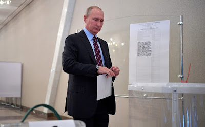 Vladimir Putin voting during municipal elections in Moscow.