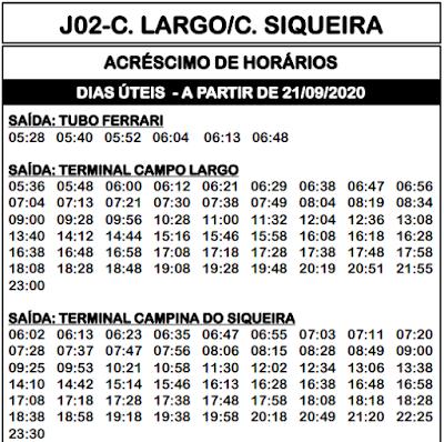 Horário de ônibus J02 CAMPO LARGO / CAMPINA SIQUEIRA 2020 | Campo Largo PR
