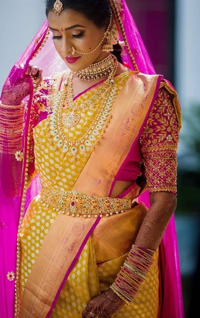 Bride in Mango Mala Pachi Vaddanam