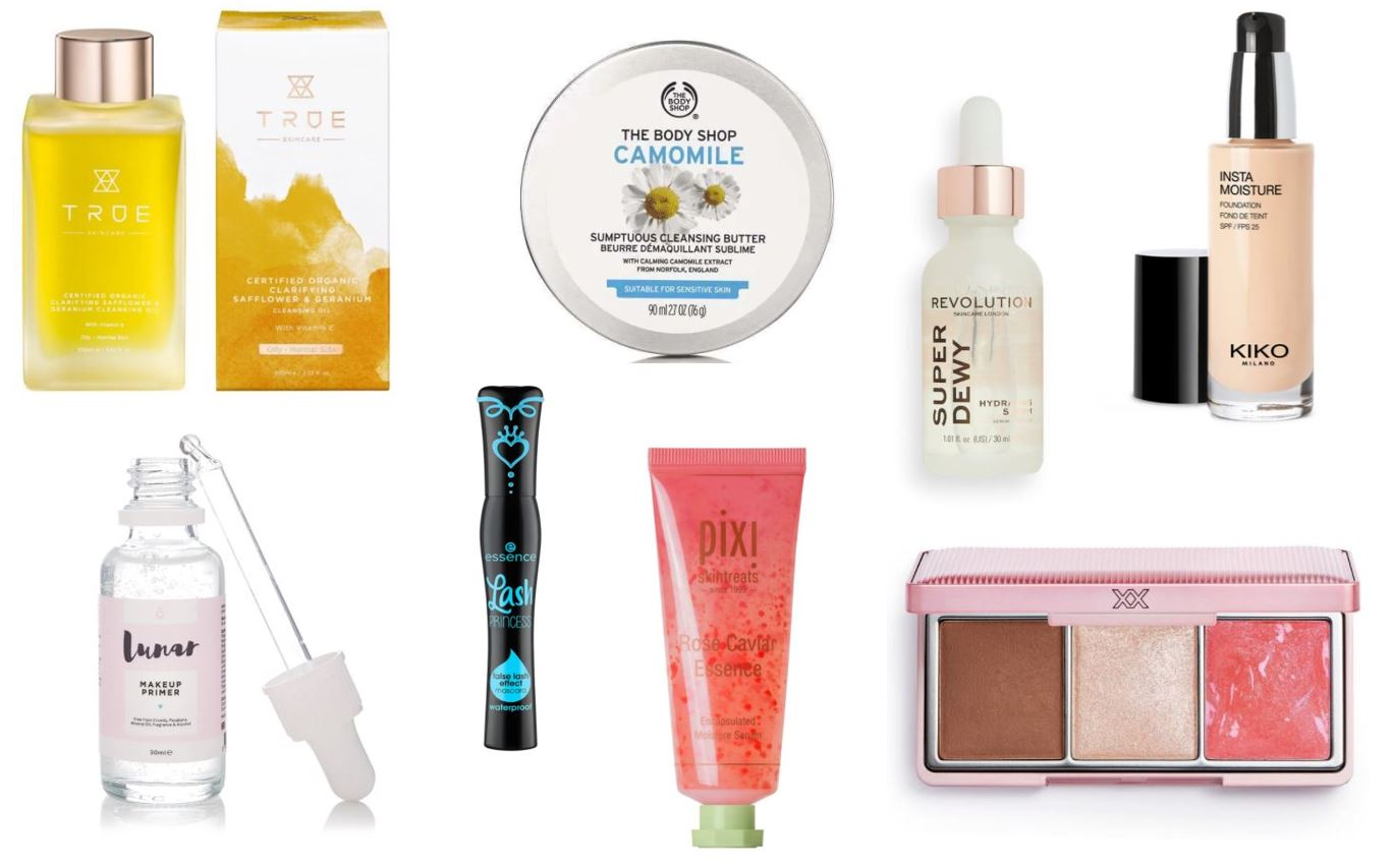 Beauty products in a collage on a white background
