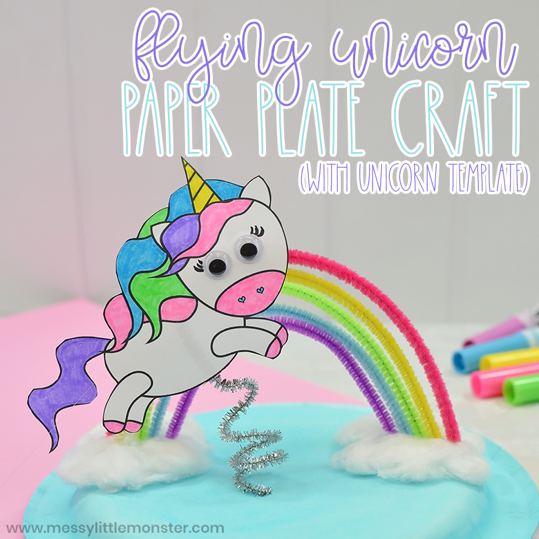 flying unicorn paper plate craft with printable unicorn template