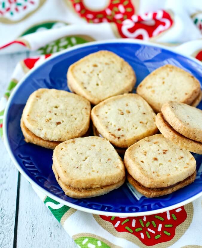 Hazelnut shortbread cookies on a Christmas plate