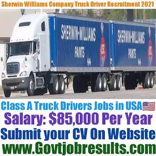The Sherwin Williams Company Class 1 Truck Driver Recruitment 2021-22