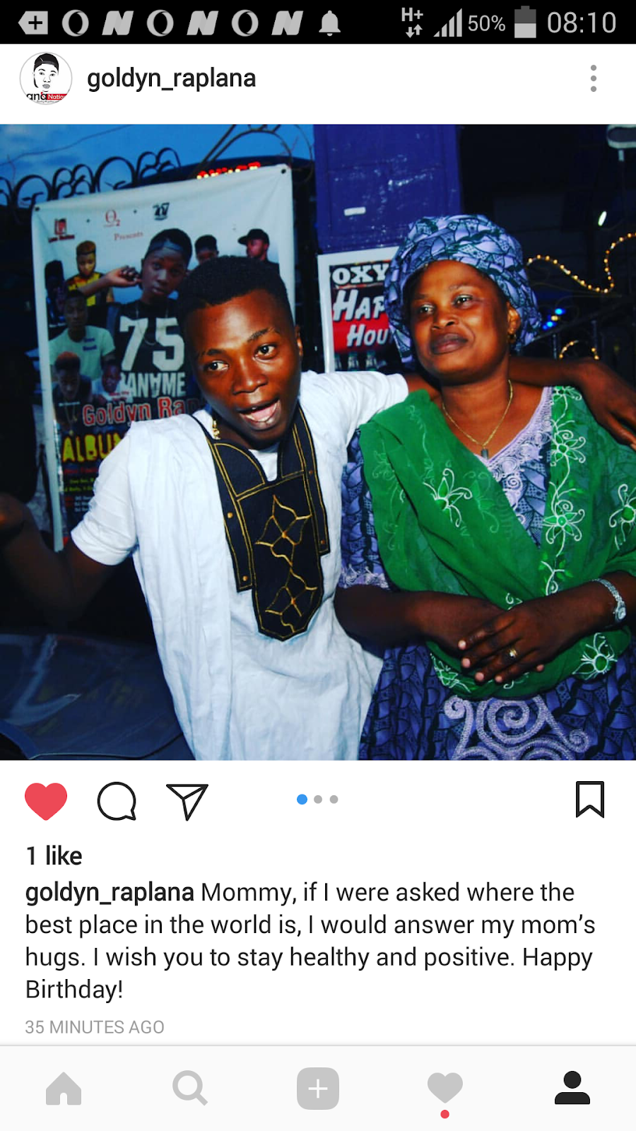 Fast rising rapper/singer, CEO Lana Nation, Goldyn Raplana celebrates mum birthday on Instagram, as he posted on Instagram this morning   See photos below