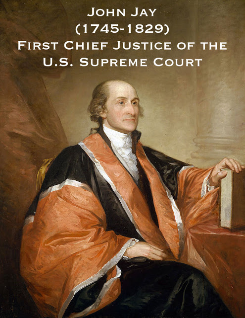Portrait of John Jay, (1745-1829), painted by Gilbert Stuart. First Chief Justice of the U.S. Supreme Court, wearing traditional red judicial robes. Court Complexities and Legal Fiction, A Moron In A Hurry marchmatron.com