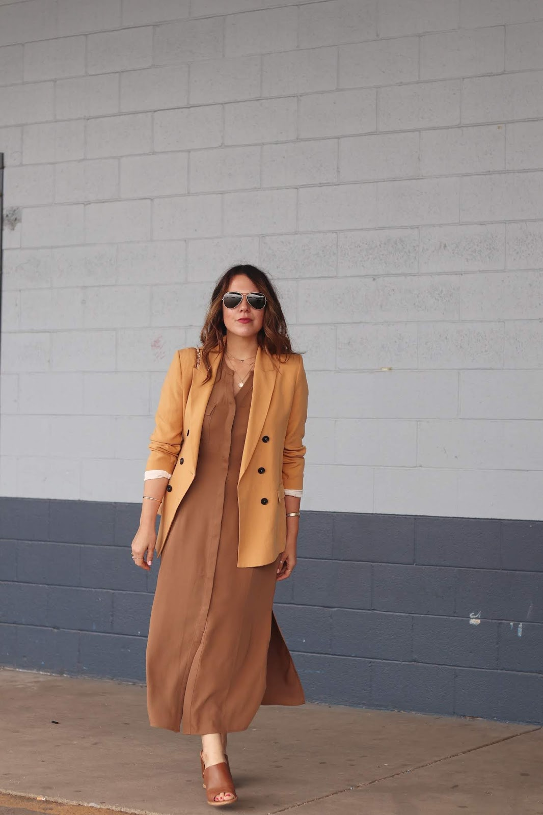 Le Chateau maxi dress and blazer outfit aleesha harris