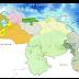 Precipitaciones sobre Amazonas, Bolívar, oeste de Apure, Barinas, norte de Portuguesa, Guárico, Táchira, Mérida, Trujillo y Zulia