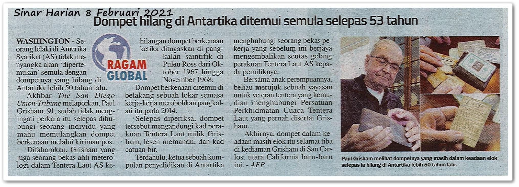 Dompet hilang di Antartika ditemui semula selepas 53 tahun - Keratan akhbar Sinar Harian 8 Februari 2021