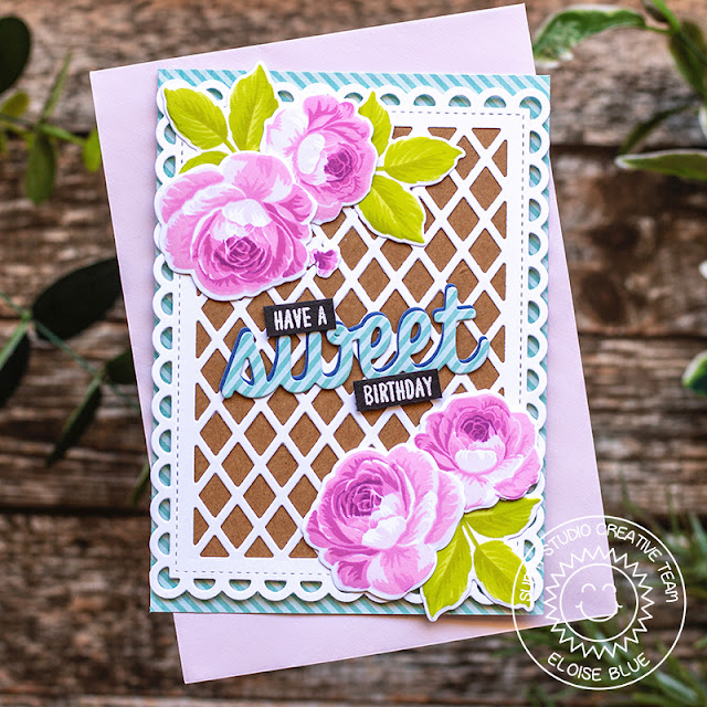 Sunny Studio Stamps: Everything's Rosy Frilly Frames Floral Birthday Card by Eloise Blue
