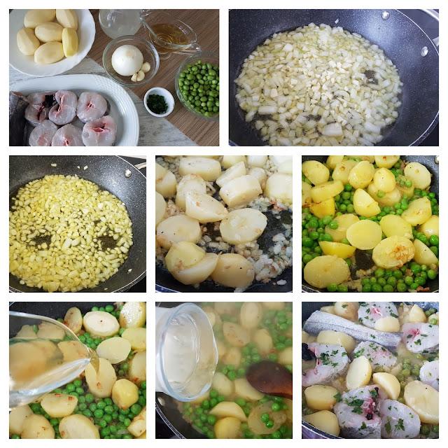 Merluza con guisantes y patatas nuevas