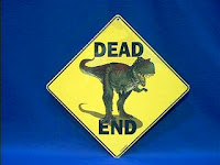 dinosaur dead end crossing sign
