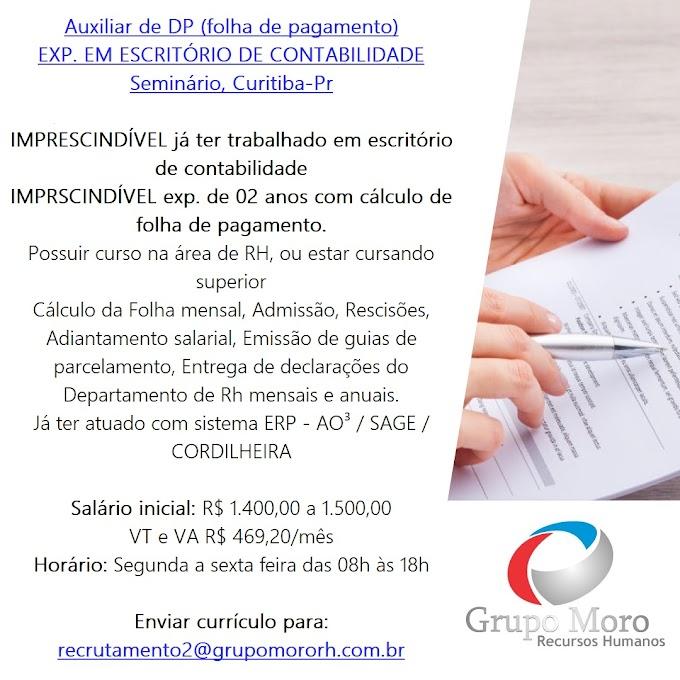 Auxiliar de DP - Folha de Pagamento, Curitiba, PR