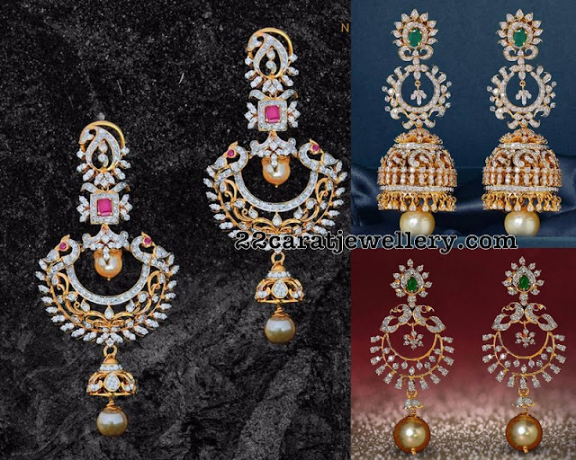 Diamond Large Jhumkas by Nikitha Linga