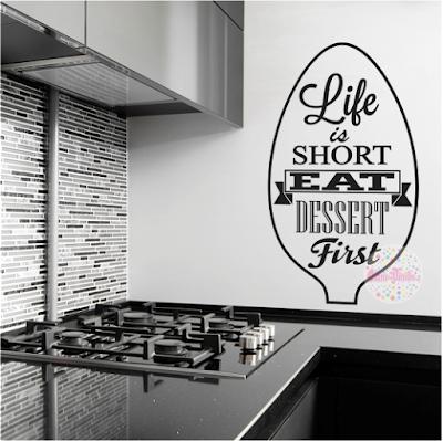 vinilos decorativos cocina postres tipografico life is short frase