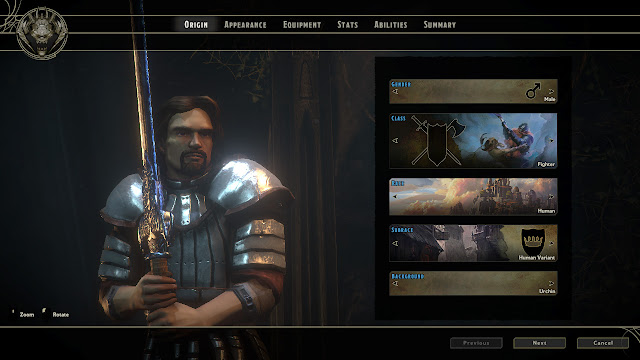 Sword Coast Legends character creation origin screen