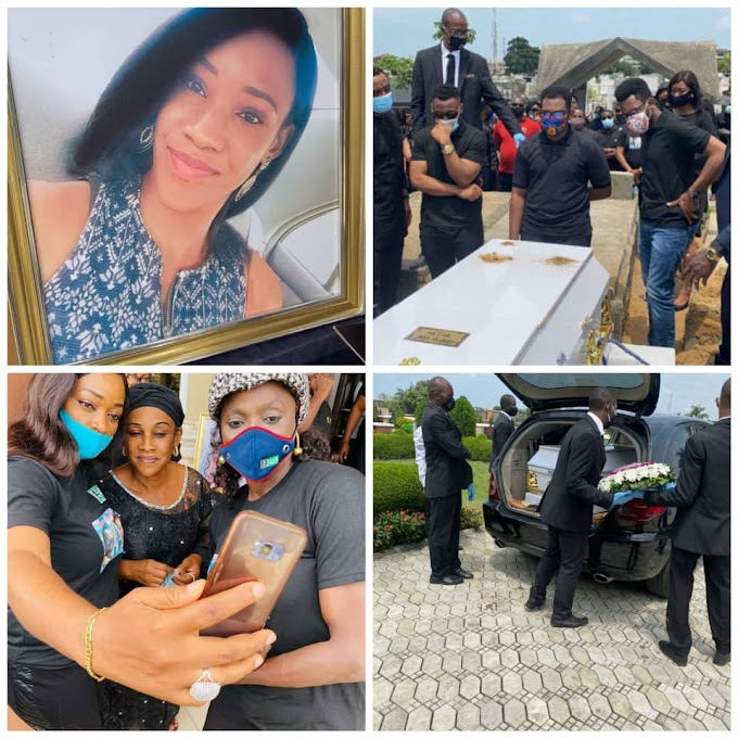 Tears Flow As FAAN Worker Who Was Crushed To Death By Fallen Container Is Laid To Rest In Lagos (Photos)