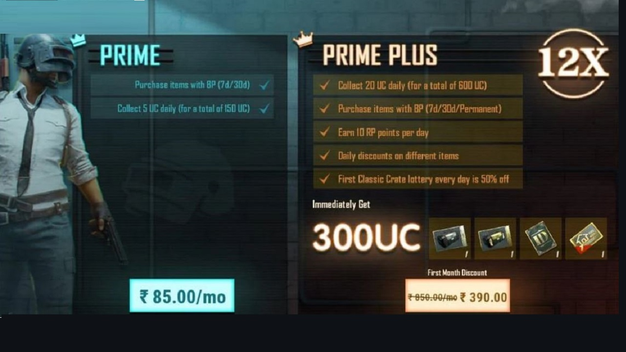 BGMI Prime and Prime Plus Subscription