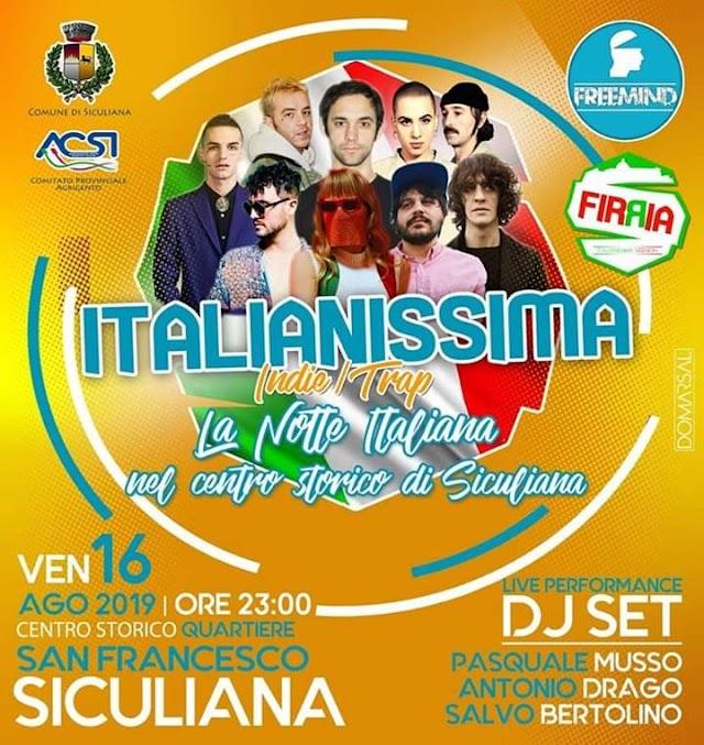 Italianissima, la notte italiana nel Centro Storico di Siculiana.