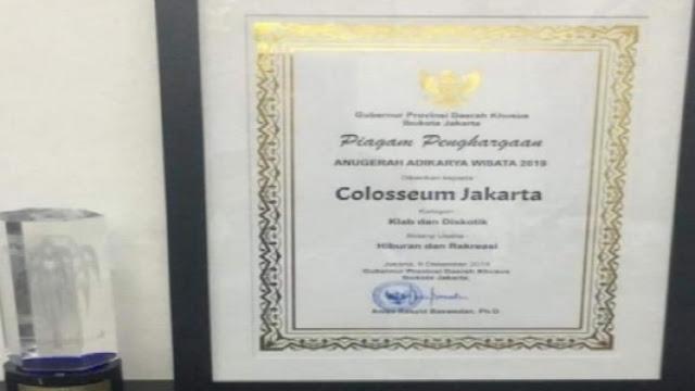 Pemprov DKI: Tanda Tangan Anies di Penghargaan Diskotek Colosseum Cetakan