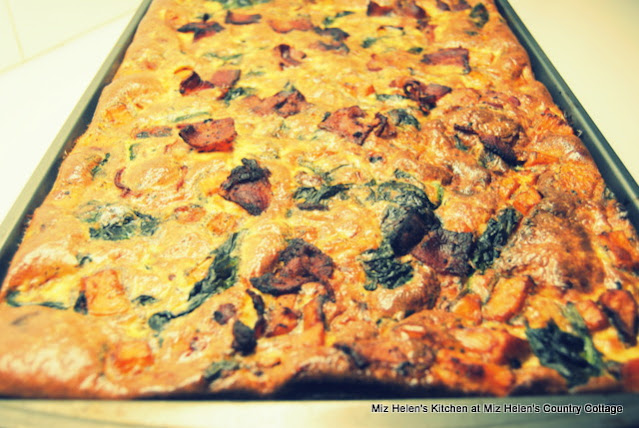 Bacon and Sweet Potato Sheet Pan Quiche at Miz Helen's Country Cottage