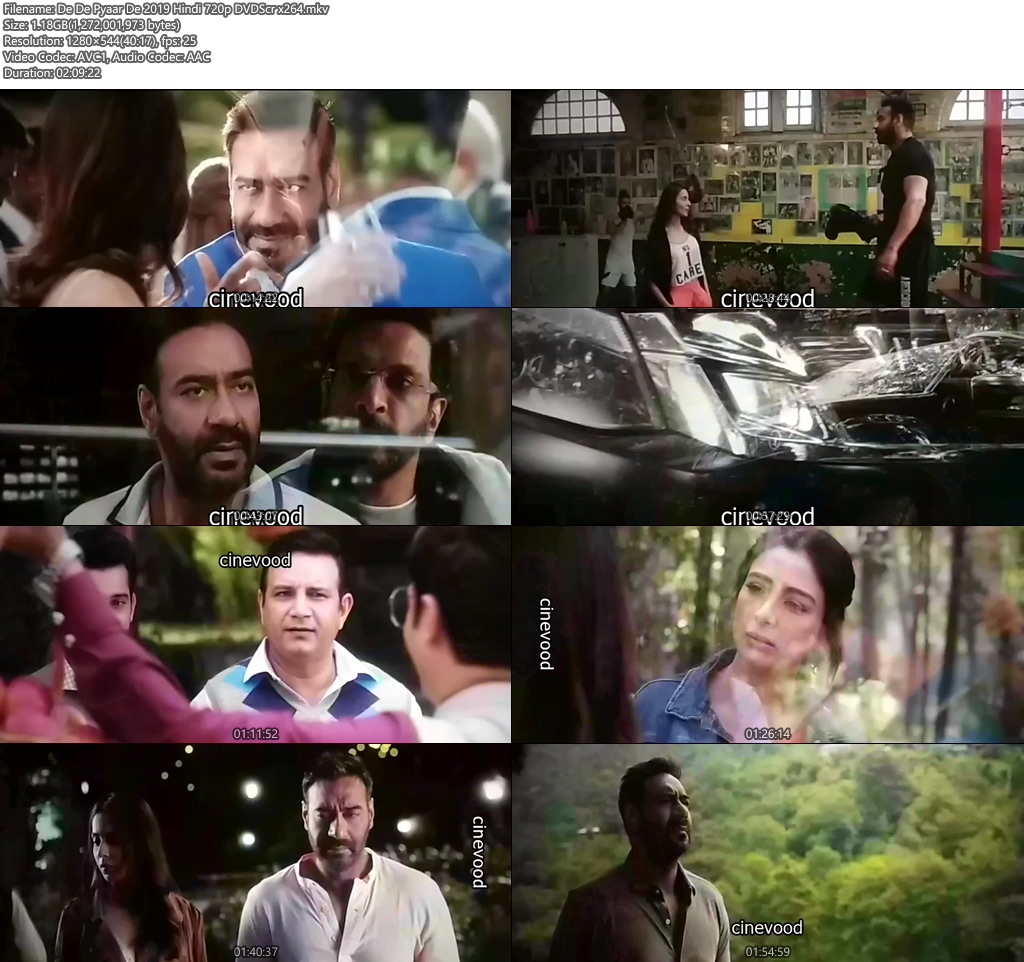 De De Pyaar De 2019 Hindi 720p DVDScr x264 | 480p 300MB | 100MB HEVC Screenshot