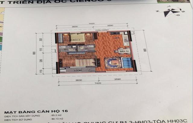 Sơ đồ thiết kế căn hộ 16 chung cư B1.3 HH03C Thanh Hà Cienco 5