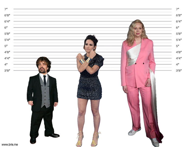 Tiffany Smith height comparison with Peter Dinklage and Gwendoline Christie