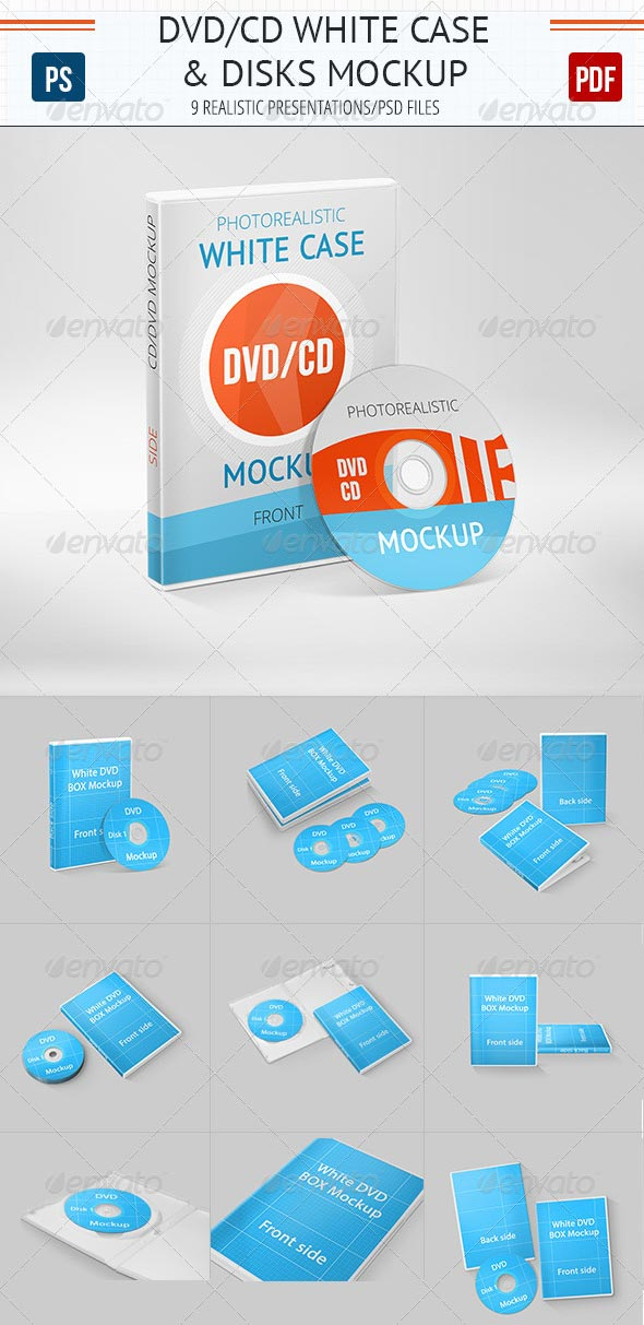 Realistic DVD/CD Mockup White Case & Disks