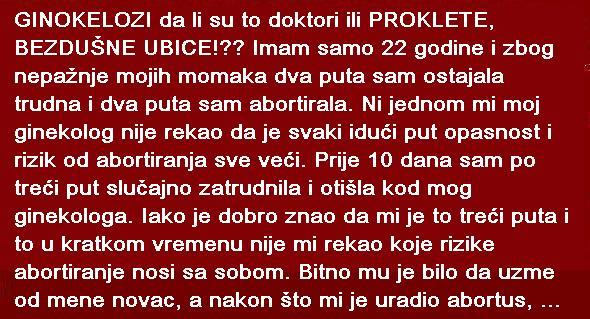 Image result for GINOKELOZI DA LI SU TO DOKTORI ILI PROKLETE, BEZDUŠNE UBICE!?? IMAM SAMO 22 GODINE...