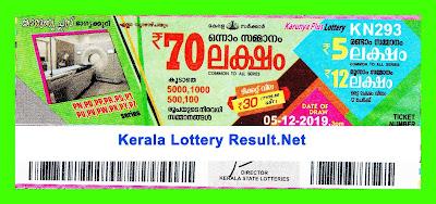 Kerala Lottery Result 05-12-2019 Karunya Plus Kn 293 (keralalotteryresult.net)