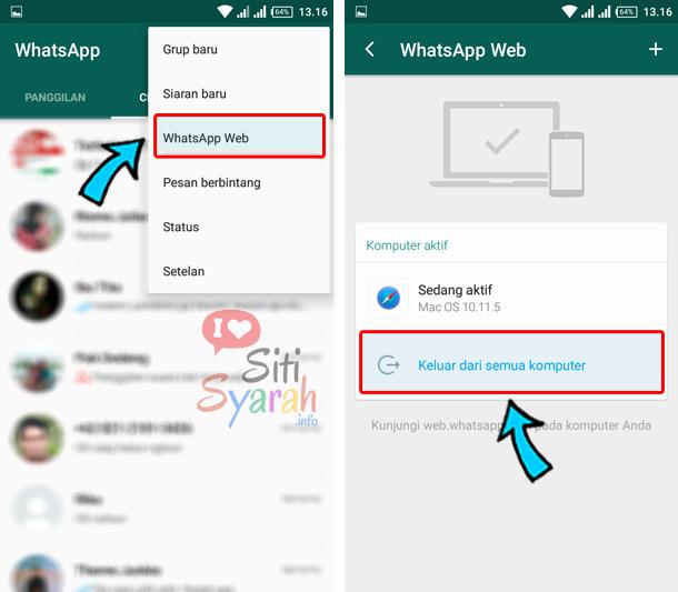 cara keluar dari whatsapp web