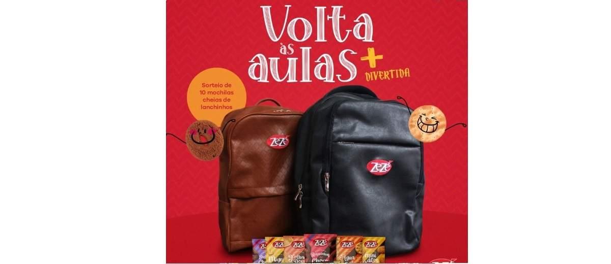 Promoção Biscoitos Zezé 2020 Volta às Aulas - 10 Mochilas Lanche Dentro