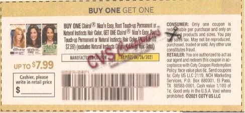 """BOGO FREE Clairol Coupon from """"SMARTSOURCE"""" insert week of 6/13/21 (value up to 7.99)."""