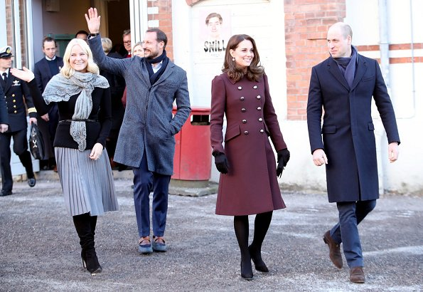 The Duchess, Kate Middleton wearing a Dolce & Gabbana coat. Crown Princess Mette Marit wore-Michael Kors