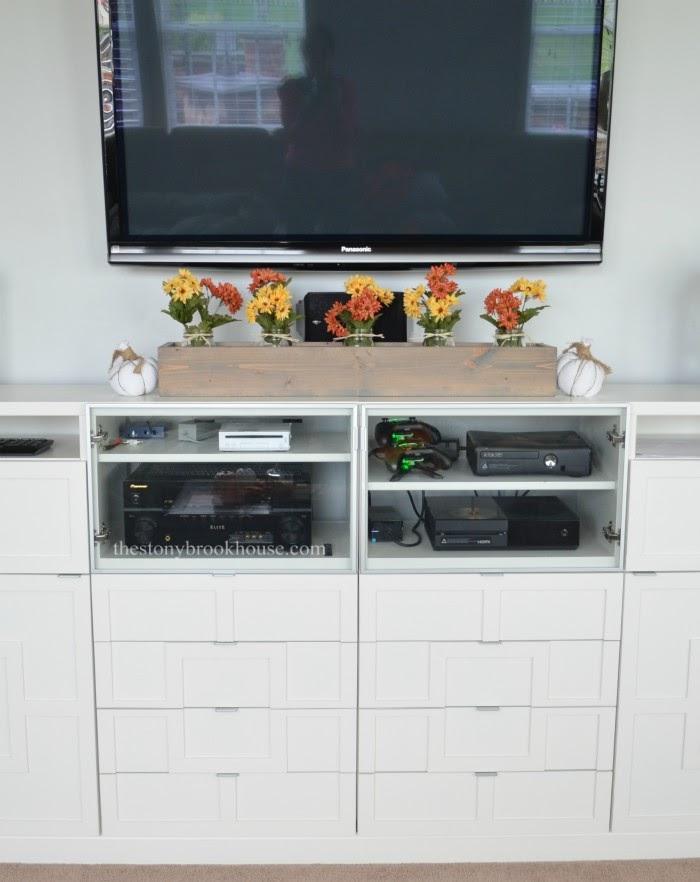 plain wood box on console
