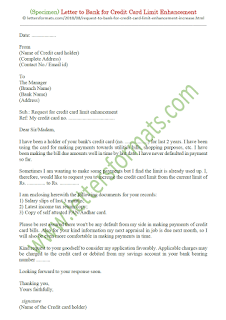 request letter to bank for increase credit card limit
