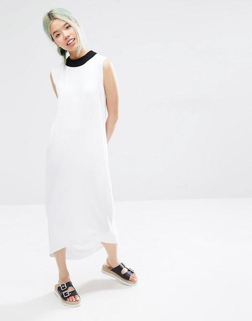 monki white dress, white dress black neck,
